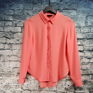 Metaphor | Sheer Coral Button Down Blouse